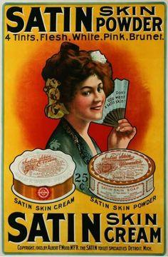 Chúng ta có thể thấy thời kỳ này chuyên chăm sóc da bằng kem với tông màu satin, make up chưa đa dạng.