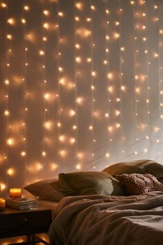 Urban Outfitters Fairy Curtain String Lights Fairy Lights Room, String Lights In The Bedroom, Room Lights, Twinkle Lights Bedroom, Room Design Bedroom, Room Ideas Bedroom, Bedroom Decor, Luz Flash, Wall Of Light