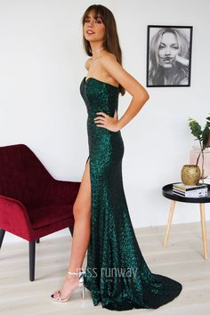 Katherine Sequin Gown in Emerald  emeraldgreen  greendress   greenformaldress  sequingown  eveninggown Hollywood f383c74a4