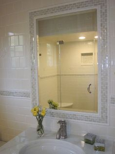 Tile Around Mirror Design Ideas Pictures Remodel And Decor