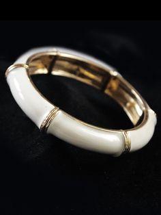 Ivory Gold Bamboo Style Bracelet