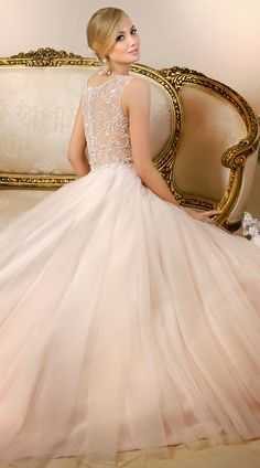 Blush gown with illusion back. Stella York Spring 2015 Bridal Collection | bellethemagazine.com