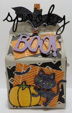 Stampin' Up All Box Up Halloween Box created by Lynn Gauthier using Stampin' Up Haunt Ya Later, Sweet Hauntings, Cheer All Year and Witches' Night stamp sets. Go to http://lynnslocker.blogspot.com/2015/10/stampin-up-all-boxed-up-spooky.html to see the details of this box.