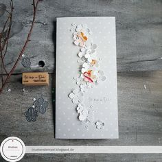Ingredients: 3 Cherry dot paper I think of you! Christmas Gifts For Kids, Handmade Christmas, Christmas Cards, Pebble Pictures, Cherry Blossom Flowers, Free Gift Cards, Card Tags, Flower Cards, Paper Flowers