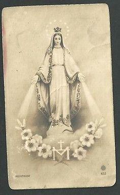 Estampa antigua de la Virgen Milagrosa andachtsbild santino holy card santini