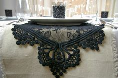 Black Lace Table Runner, Gothic Vintage Wedding Decor, 12 x 74 inches Simple Wedding Invitations, Rustic Invitations, Wedding Favors, Trendy Wedding, Wedding Vintage, Gothic Wedding, Black Lace Table, Diy Wedding On A Budget, Autumn Bride