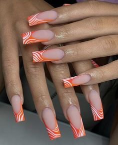 Summer Acrylic Nails, Pastel Nails, Cute Acrylic Nails, Acrylic Nail Designs, Cute Nail Colors, Graduation Nails, May Nails, Orange Nails, Orange Acrylic Nails