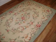 """Vintage Hooked Rug - Cottage Chic Charm with Pink Roses -  Almost 4 ft x 6 ft - Measures 47"""" x 70"""" - Cottage Chic Home Decor"""