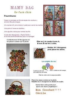 hexagon bag tutorial in French.