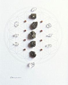 Crystal Grid  ABUNDANCE & LUCK framed  pyrite by CrystalGrids