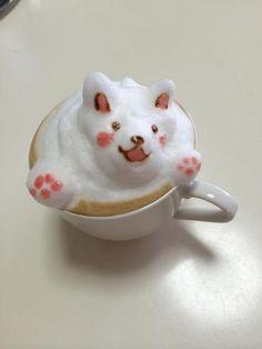 3D Latte Art - Puppy Coffee Latte Art, Coffee Cups, Cute Food, Yummy Food, Watermelon Art, Cup Art, Creative Food, Fun Drinks, Coffee Time