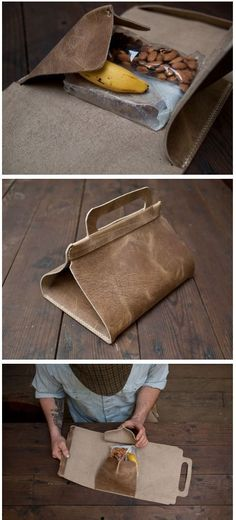 Wood and Faulk - leather lunch tote - DIY Crea Cuir, Sac Lunch, Diy Sac, Leather Design, Leather Accessories, Leather Working, Purses And Bags, Wood, Diy Leather Projects