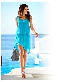 13 Robe d'été helline bleu turquoise fluide en voile