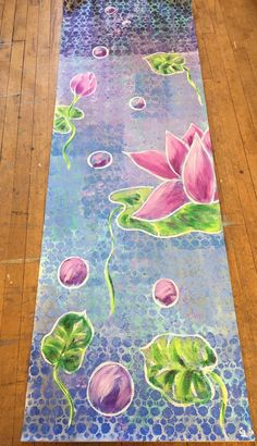 This hand painted yoga mat is sure to inspire a peaceful, transcendent yoga practice! This mat is hand painted, made to order so please be