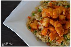 Kínai édes-savanyú mártásban sült csirke zöldséges sült rizs körettel Food And Drink, Ethnic Recipes