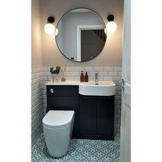 Bathroom Under Stairs, Loft Bathroom, Bathroom Toilets, Bathroom Layout, Metro Tiles Bathroom, Small Downstairs Toilet, Small Toilet Room, Downstairs Bathroom, Small Toilet Design