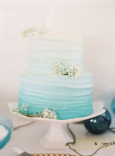 Turquoise ombre wedding cake.
