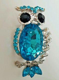 "Silver Tone Aqua Blue Crystal Owl Lapel Pin Scarf Brooch 2"" USA Seller #Unbranded"