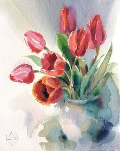 "Watercolor painting ""Red Tulips"" by Julia Kirilina - Aquarelle - Watercolor Cards, Watercolor Flowers, Watercolor Paintings, Watercolors, Beach Watercolor, Tulip Painting, Painting & Drawing, Red Tulips, Flower Art"