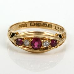 18ct ruby and diamond ring made in 1914. I also enjoy the hallmarks...