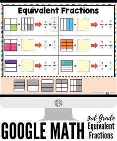 Fractions Équivalentes, Teaching Fractions, Teaching Math, Kindergarten Math, Multiplication, Third Grade Math Games, Math Fraction Games, 3rd Grade Math Worksheets, Second Grade