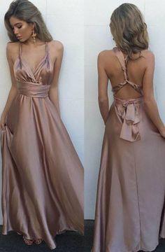 Simple V-Neck Sleeveless Floor Length Criss-Cross Straps Blush Prom Dress with Pleats