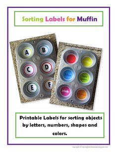 Printable labels for muffin tins for sorting objects by letters, numbers, shapes & colors.