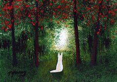 White German Shepherd Dog Outsider Folk Art PRINT of Todd Young Forest Light. $12.50, via Etsy.