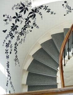 From timorousbeasties.com  Timorous Beasties vinyl trailing leaves decorate the stairwell at The Dock in London for London Design Week 2009.