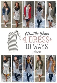 How to wear 1 striped dress 10 different ways! This black and white striped dres. How to wear 1 striped dress 10 different ways! This black and white striped dress can be worn & styled so many ways. This dress is easy to wear al. Winter Dress Outfits, Spring Outfits, Cute Outfits, Outfit Summer, Dresses In Winter, Casual Mom Outfits, Mix Match Outfits, Dress Winter, Outfit Winter