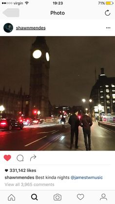 Shawn Mendes in London, England Shawn Mendes, James Tw, Sounds Like, Big Ben, Times Square, Street View, Vacation, Night, World