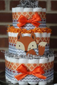 TORTA DE PAÑALES 3 Tier Fox Diaper Cake, Boys Woodland Baby Shower, Fox Baby Shower Decor, Orange Gray Chevron Fox Diaper Cake