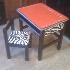 Old school zebra desk