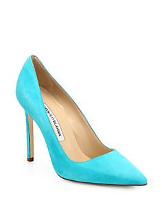 IN LOVE!!! I'd buy a pair in several colors! :)   Manolo Blahnik BB Suede Point-Toe Pumps