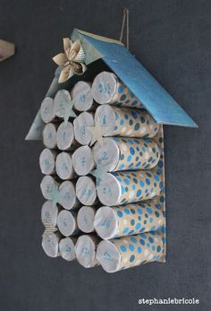 DIY Christmas recycle Advent calendars in cardboard rolls - Christmas - [post_tags Diy Holiday Gifts, Christmas Crafts For Kids, Christmas Diy, Advent Calendars For Kids, Diy Advent Calendar, Cardboard Rolls, Cardboard Paper, Diy And Crafts, Arts And Crafts