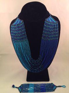 Zulu Multi-strand Beaded Necklace and Bracelet set