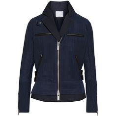 Sacai Hickory twill-trimmed striped cotton-canvas peplum jacket ($1,700) ❤ liked on Polyvore featuring outerwear, jackets, navy, stripe jacket, navy blue jacket, sacai, peplum jacket and cotton canvas jacket