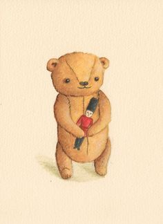 Teddy Bear with Toy Soldier print from an original by TinyRed