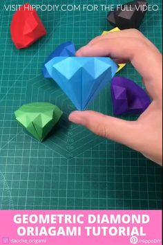 Let's fold some diamond. Visit our website for the full video! - How to fold a geometric diamond - origami tutorial Diy Crafts Hacks, Diy Crafts For Gifts, Diy Crafts Videos, Creative Crafts, Handmade Crafts, Stick Crafts, Paper Crafts Origami, Paper Crafts For Kids, Diy Paper