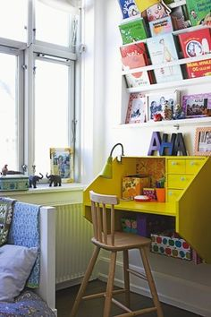 New Kids Room Organization Small Spaces Book Shelves 55 Ideas Casa Kids, Yellow Desk, Yellow Table, Rainbow Room, The Design Files, Kid Spaces, Small Spaces, Play Spaces, Play Areas