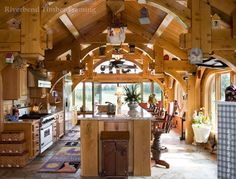 A heavily trussed kitchen from Riverbend Timber Framing