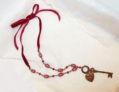 Collier chaîne argent - ruban rouge/bordeau - clé et coeur dorés