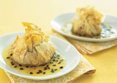 Guava and Manchego Phyllo Pouches with Passion Fruit Syrup - Bon Appétit