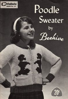 Vintage 1950s Beehive no 37 Girls Poodle Sweater Knitting Pattern Zip Front Jacket Sizes 8-10-12. $13.46, via Etsy.