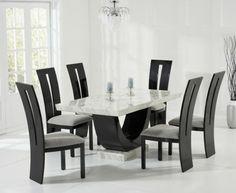 Charmant Raphael Cream And Black Pedestal Marble Dining Table With Raphael Chairs    Marble   Dining Sets   Oak Dining Room Furniture
