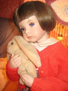 Child doll with bunny Dolls For Sale, Child Doll, Bunny, Porcelain, Children, Handmade, Ebay, Rabbit, Boys