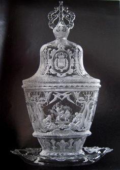 "Simon Gate (Swedish, 1883-1945), Orrefors, ""Paris Pokal"" Engraved Glass."