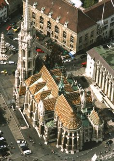 The Matthias Church - The Coronation Church of Our Lady and - top left - Square of Holy Trinity (Szentháromság tér) with the Holy Trinity Column built in 1713. (Budapest, Hungary)