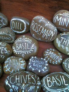 Painted rock herb markers by Jennifer Orkin Lewis. Love these!