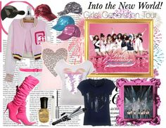 """SNSD ""Into the New World ~ First Asia Tour"" Poster Inspired Look - Pink Fireworks"" by migeeringler ❤ liked on Polyvore"